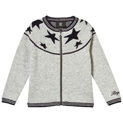 Bogner Grey Fullzip Cardigan With Navy Stars