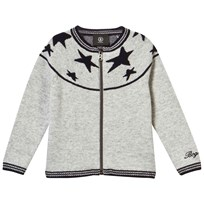 Bogner Grey Fullzip Cardigan With Navy Stars 012 GREY