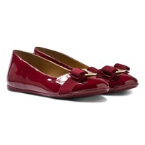 Ferragamo Varina Mini Dark Red Patent Ballerina Pumps 646194
