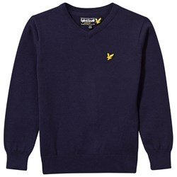 Lyle & Scott Navy V Neck Jumper