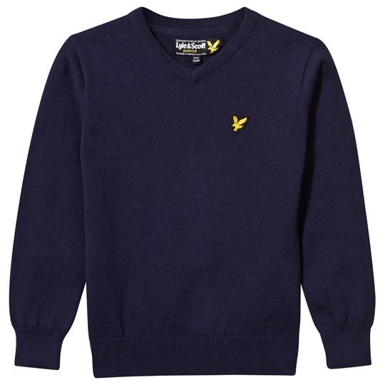 Lyle & Scott Navy V Neck Jumper 19-3920 TCX DEEP INDIGO