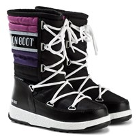 Moon Boot Black and Pink W.E. Quilted Moon Boots 003 BLACK-VIOLET ORCHID