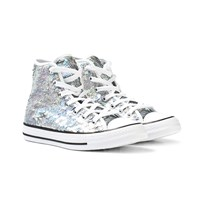 Converse Silver Sequin Chuck Taylor All Star Hi Tops SILVER/WHITE/BLACK