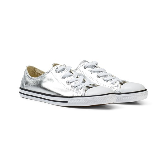 Converse Gold Metallic Chuck Taylor All Star Dainty Trainers Silver/BLACK/WHITE
