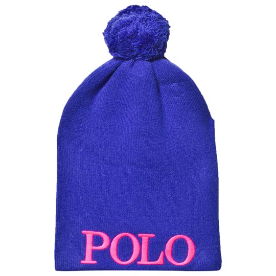 Ralph Lauren Logo Pom Pom Beanie in Royal Blue A409J