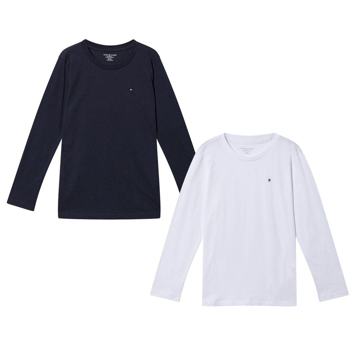 Two Pack of Navy and White Long Sleeve Tees Tommy Hilfiger