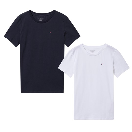 Two Pack of Navy and White Short Sleeve Tees Tommy