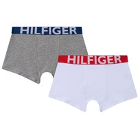 Tommy Hilfiger Two Pack of Grey and White Contrast Waistband Trunks 101