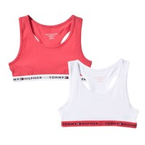 Tommy Hilfiger Two Pack of Pink and White Branded Bralets 613