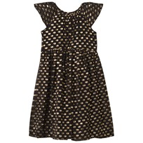 Burberry Black and Gold Lurex Spot Silk Dress GOLD/BLACK