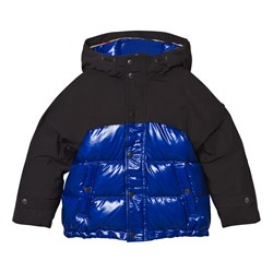 Burberry Navy and Black Puffer Coat with Coated Yoke and Hood