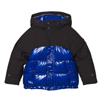 Burberry Navy and Black Puffer Coat with Coated Yoke and Hood Bright Navy