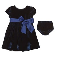 Ralph Lauren Navy Velvet Dress XW1QF