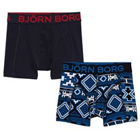Bjorn Borg 2 Pack Blue Aztec and Grey Branded Trunks 90011