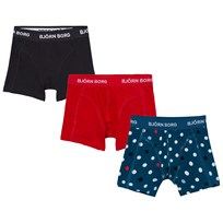Bjorn Borg 3 Pack Contrast Dot, Red and Black Branded Trunks 70151
