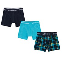 Bjorn Borg 3 Pack Contrast Check, Navy and Tuquoise Branded Trunks 70291