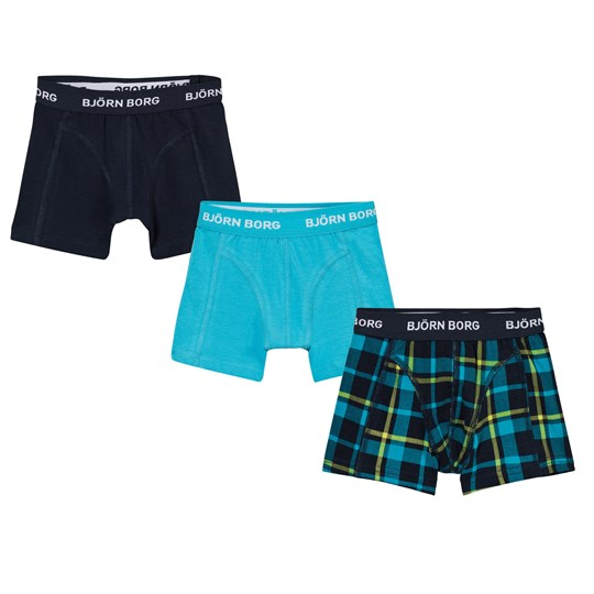 Bjorn Borg 3-Pack Contrast Check, Navy and Turquoise Branded Trunks 70291