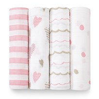 Aden + Anais 4 Pack of Pink Heart Breaker Print Swaddles Heart Breaker