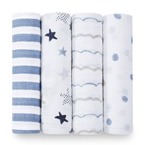 Aden + Anais 4 Pack of Blue Rock Star Print Swaddles Rock Star