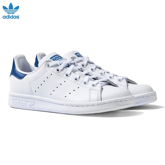 adidas Originals White and Blue Stan Smith Trainers White