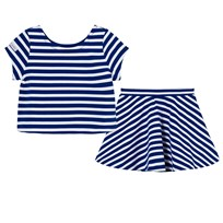 Ralph Lauren Striped Ponte Top & Skirt Set Active Royal/White XW1SK