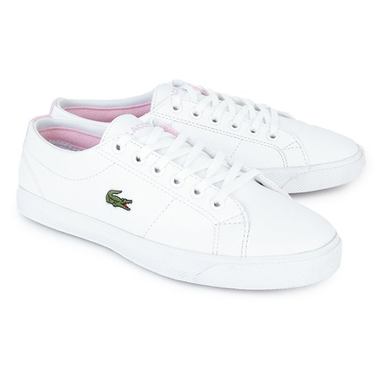 Lacoste Marcel Laced Trainers White and Pink