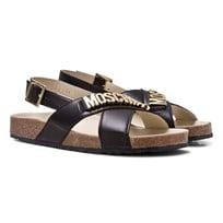 Moschino Kid-Teen Black Branded Footbed Sandals 9102