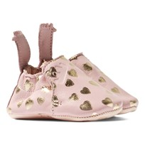 Easy Peasy Pink and Gold Heart Print Leather Crib Shoes Guimauve/ Or