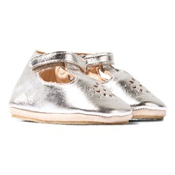 Easy Peasy Silver Metallic Lilly Mary Janes Crib Shoes