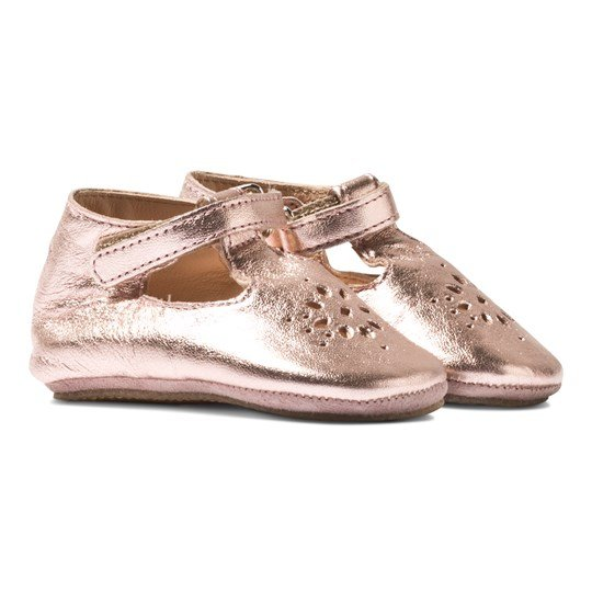 Easy Peasy Rose Pink Metallic Lilly Mary Janes Crib Shoes Pink