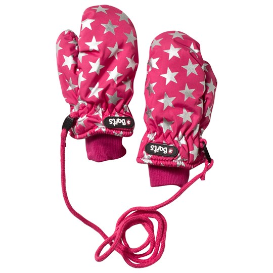 Barts Pink Mittens with Silver Star Print Pink