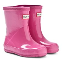 Hunter Pink First Gloss Wellington Boots Pink