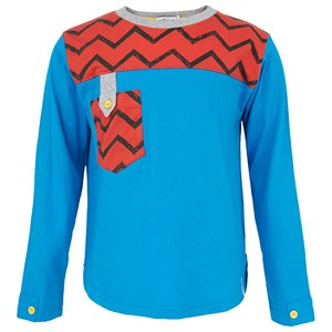 Image of Indikidual Zig Zag Tee in Blue and Red 6-9 months (2995679989)
