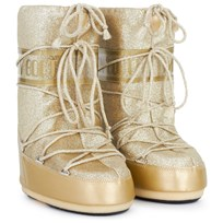 Moon Boot Gold Glitter Delux Moon Boots Gull