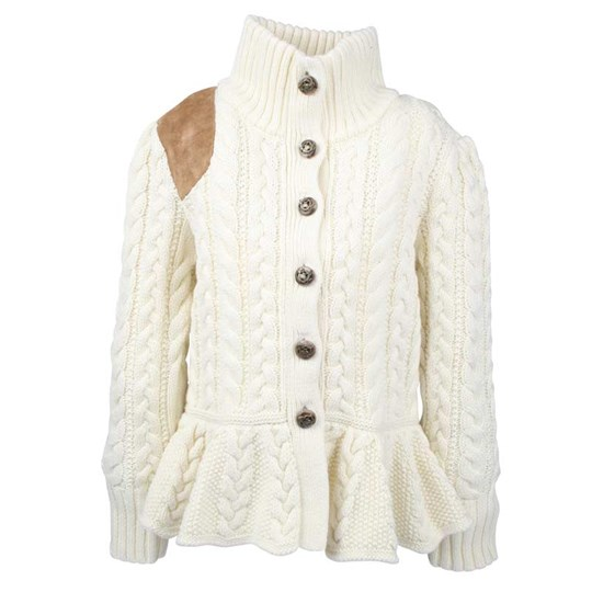 Ralph Lauren Peplumcable Riding Cardigan White