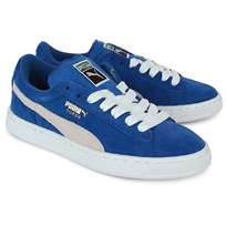 Puma Suede Laced Trainers Blue and white