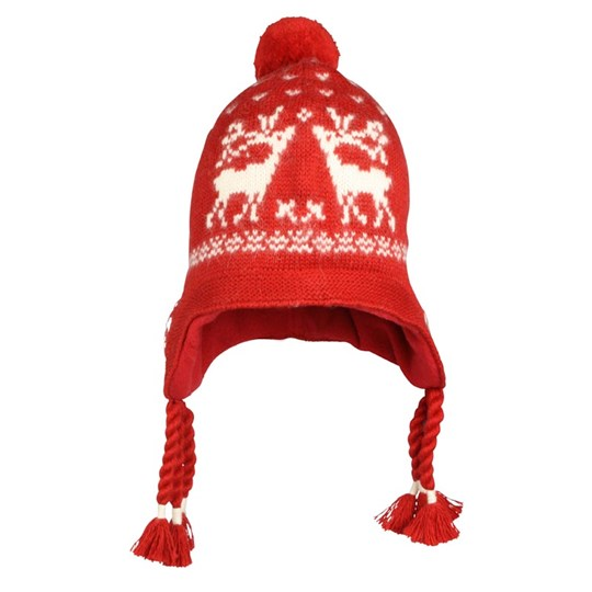 Ralph Lauren Reindeer Earflap Hat Snow Red Red