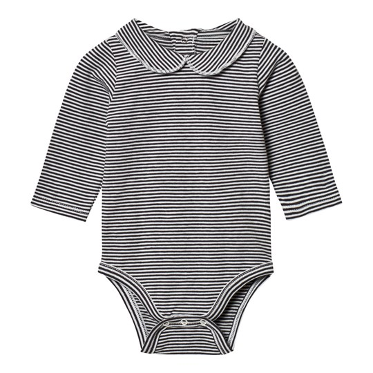 Gray Label Collared Baby Body Nearly Black/Off White Stripes Nearly Black/Off White Stripe
