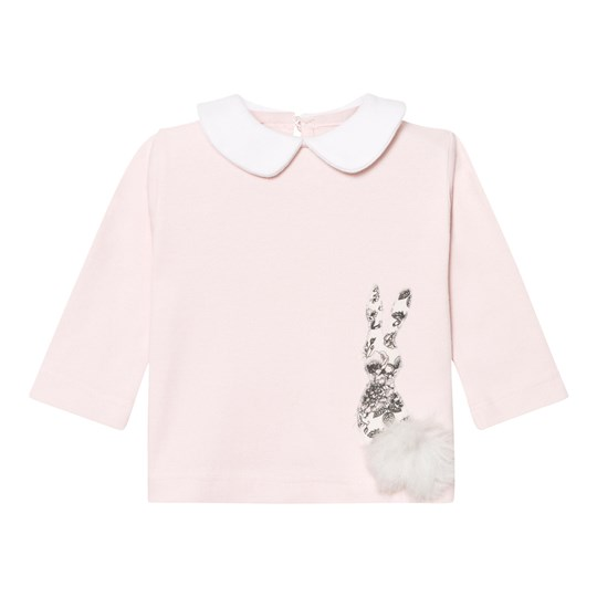 The Little Tailor Pink Collared Top with Rocking Horse Motif Pink
