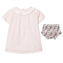 The Little Tailor Pink Embroidered Top and Floral Bloomers Set Pink