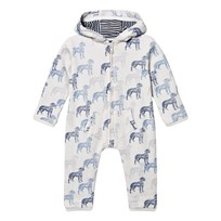 The Little Tailor White and Blue Dog Print Romper Blue