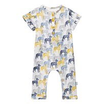 The Little Tailor Cream Multi Dog Print Jersey Footless Babygrow AOP