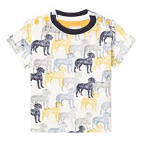 The Little Tailor Cream and Blue Multi Dog Print Tee AOP