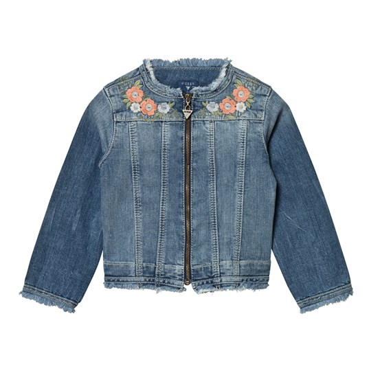 Guess Blue Floral Embroidered Denim Jacket YRKW