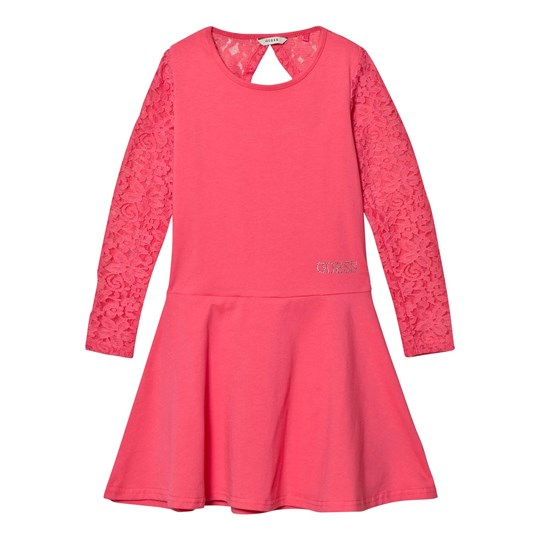 Guess Pink Lace Sleeve Dress A434