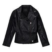 Guess Black Pleather Jacket with Textured Sleeves A996
