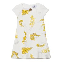 Young Versace White and Gold Baroque Print Dress with Medusa Detail 2534