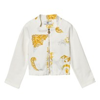 Young Versace White and Gold Baroque Print Bomber Jacket 2534