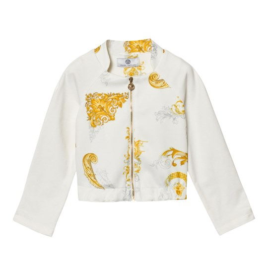 Versace White and Gold Baroque Print Bomber Jacket 2534