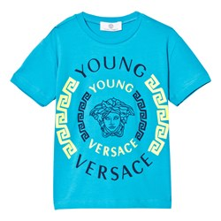 Versace Blue and Neon Green Medusa Print Tee